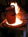 full crucible out of furnace