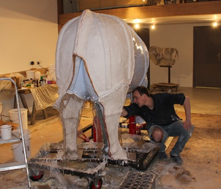 hereford bull mould with tom alabaster