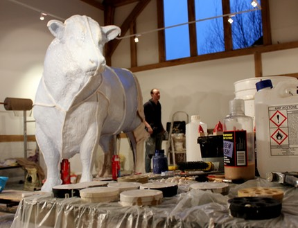 hereford bull sculpture mould making
