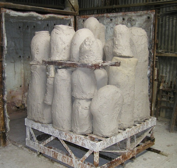 moulds going into kiln
